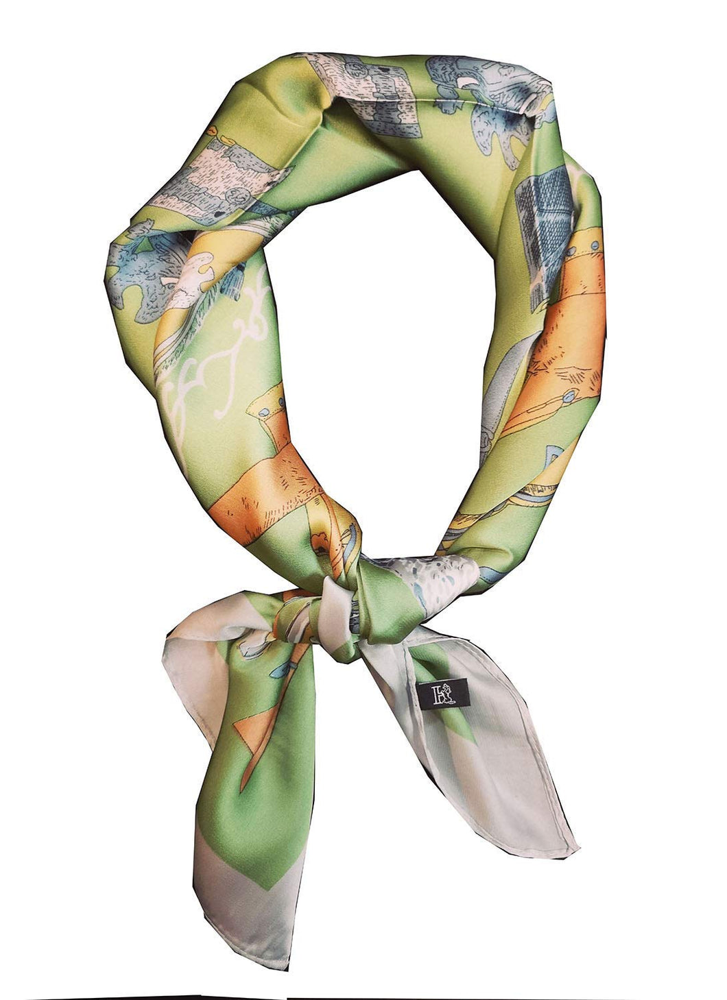 KGM accessories Luxury Satin Belt printed Neck scarf neckerchief Green