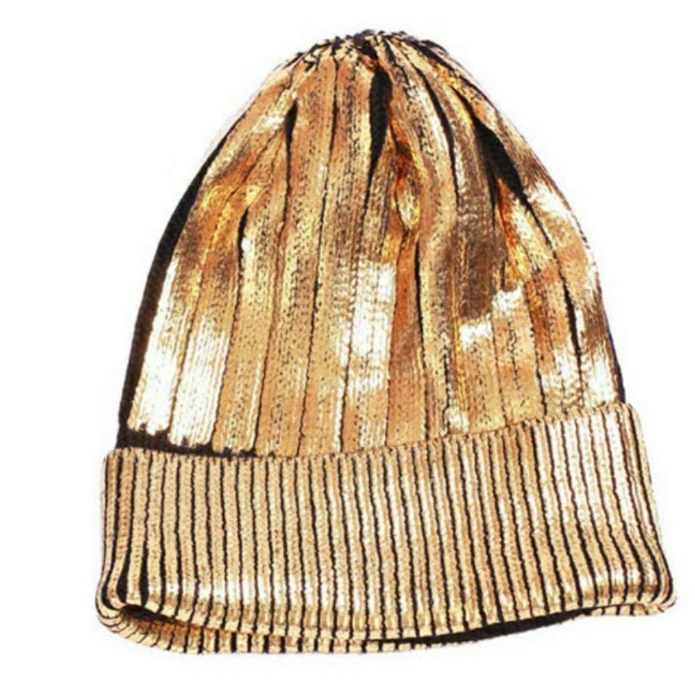 KGM Accessories Hot new Metallic gold beanie hat black