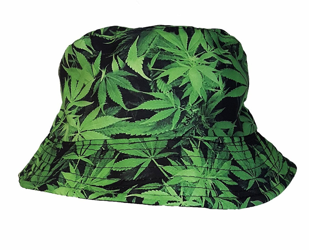 Cool colorful cannabis hemp leaf bucket sun hat