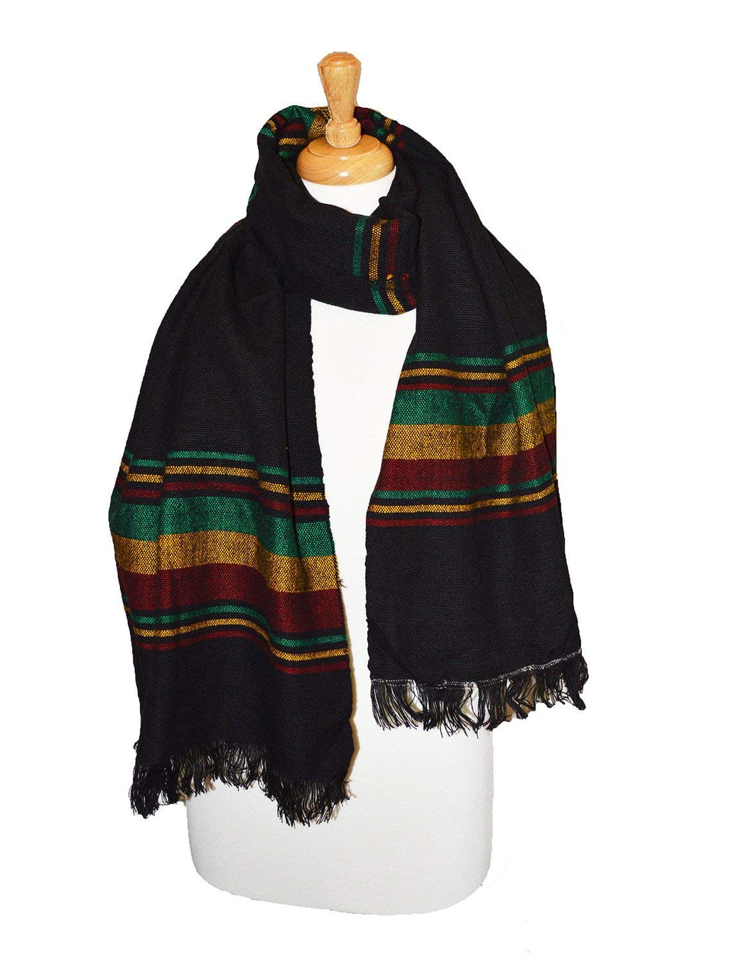Hand woven cotton Rasta stripe shawl Black