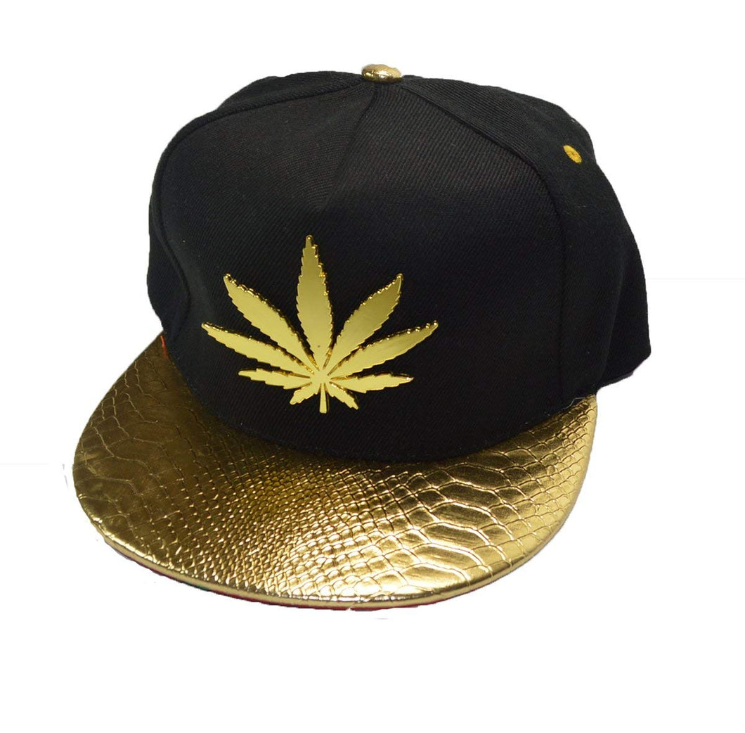 Cool New Cannabis ganja Gold Metal Leaf snap back Cap