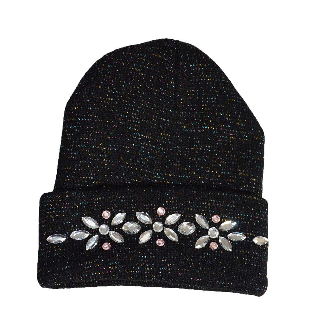 KGM Accessories Nice Diamante beanie hat Black