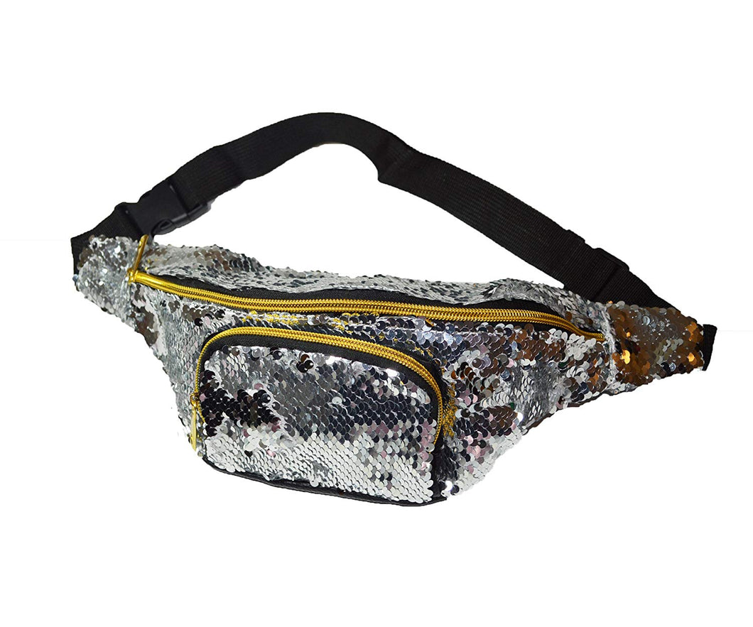 KGM Accessories Gorgeous Silver sequin bum bag waist bag fanny pack