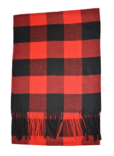 Super Soft RED Black Check Cashmere Plaid Scarf - Cashmere Scarves for Men Women