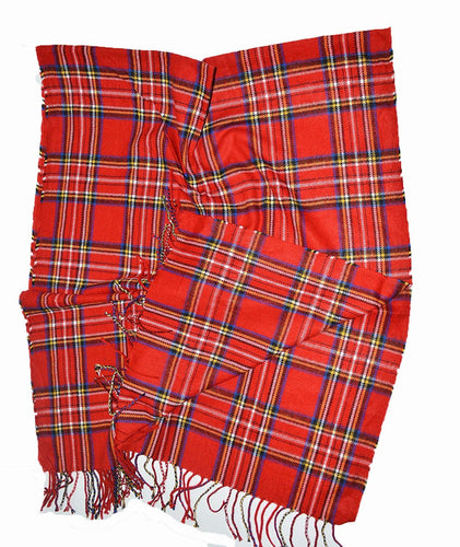Classic Red Scottish Stuart Tartan shawl