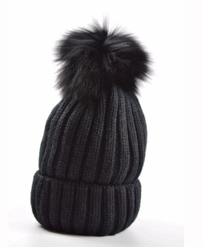 Luxury Knitted Ribbed Faux fur pom pom hat Black
