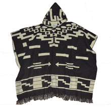 Mexican style hand made hooded Blanket poncho