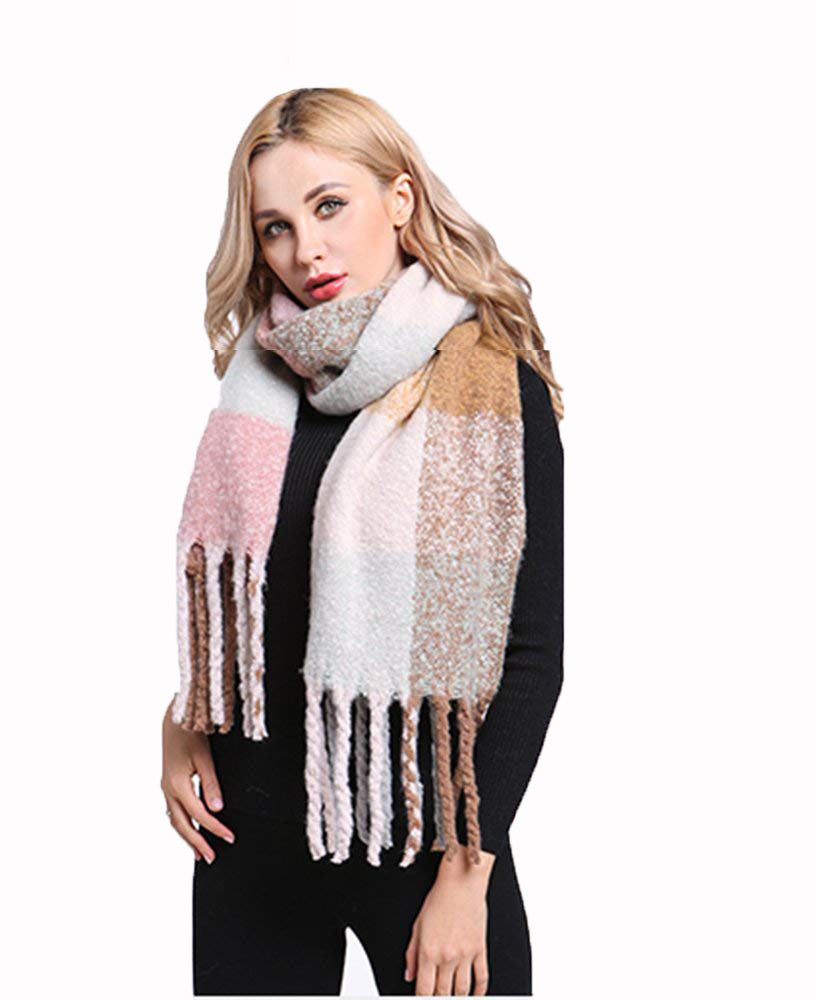 new style Super Soft thick brushed scarf Pastel check