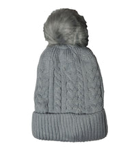 KGM accessories Ribbed fleece lined cable knitted faux fur pom pom hat