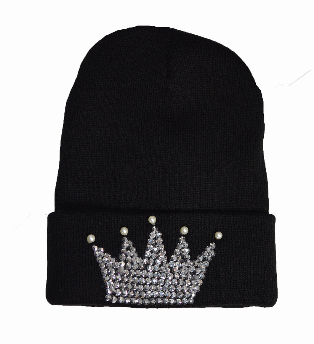 Princess Tiara Diamante detail beanie Black