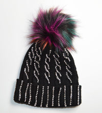 Nice Knitted Cable Faux fur pom Diamante Hat