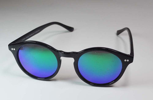 Reflective lens vintage style round sunglasses