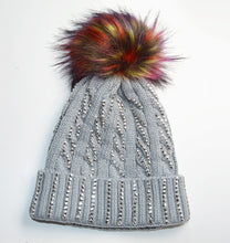 Ribbed Knit Diamante Pom hat
