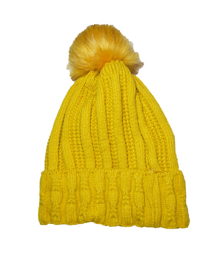 Luxury fleece lined cable knitted faux fur pom pom hat Yellow Ochre Mustard