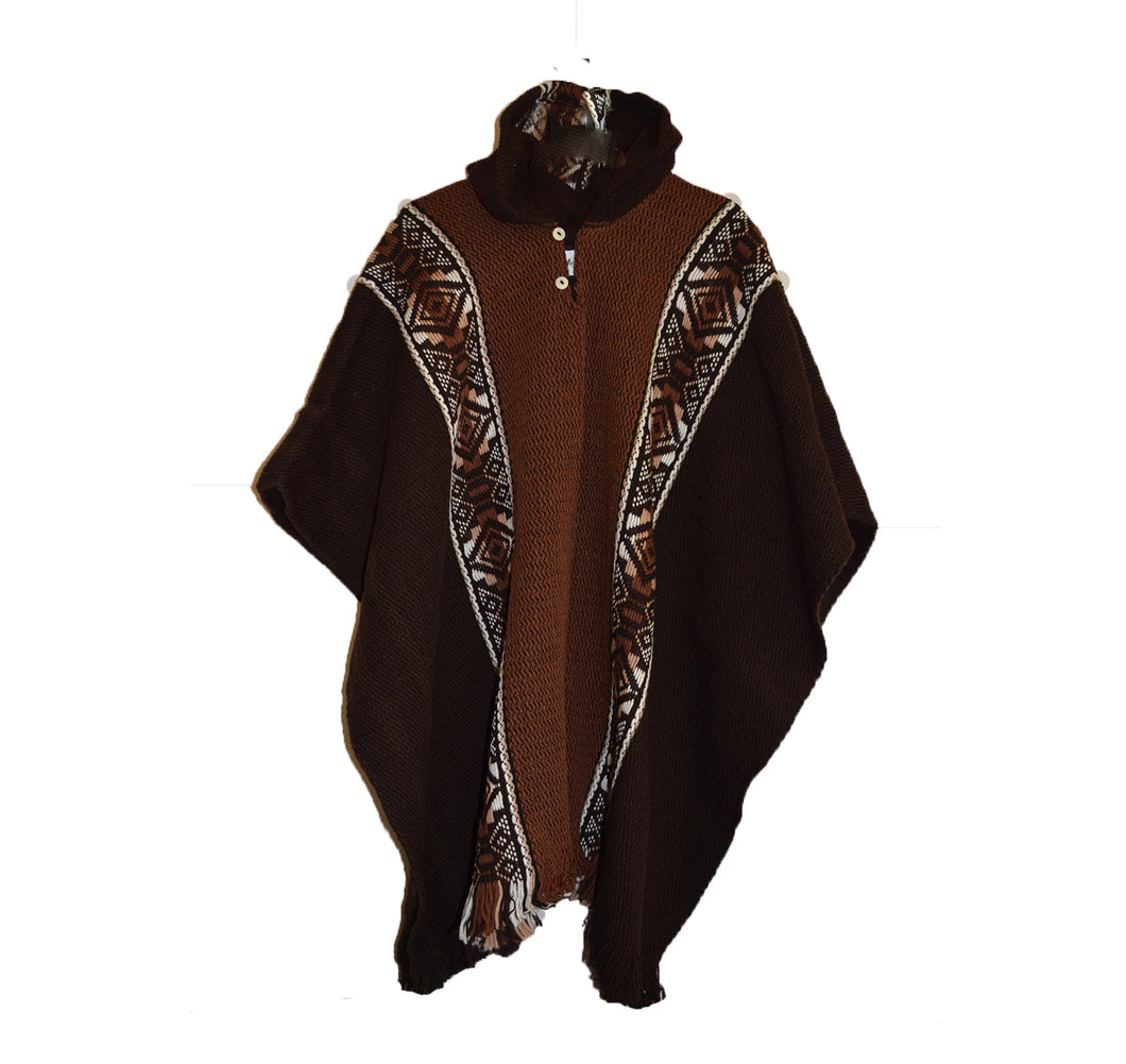 South American hand made wool  Hooded Inca poncho