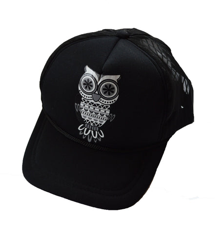 Cool Owl print mesh back trucker cap black