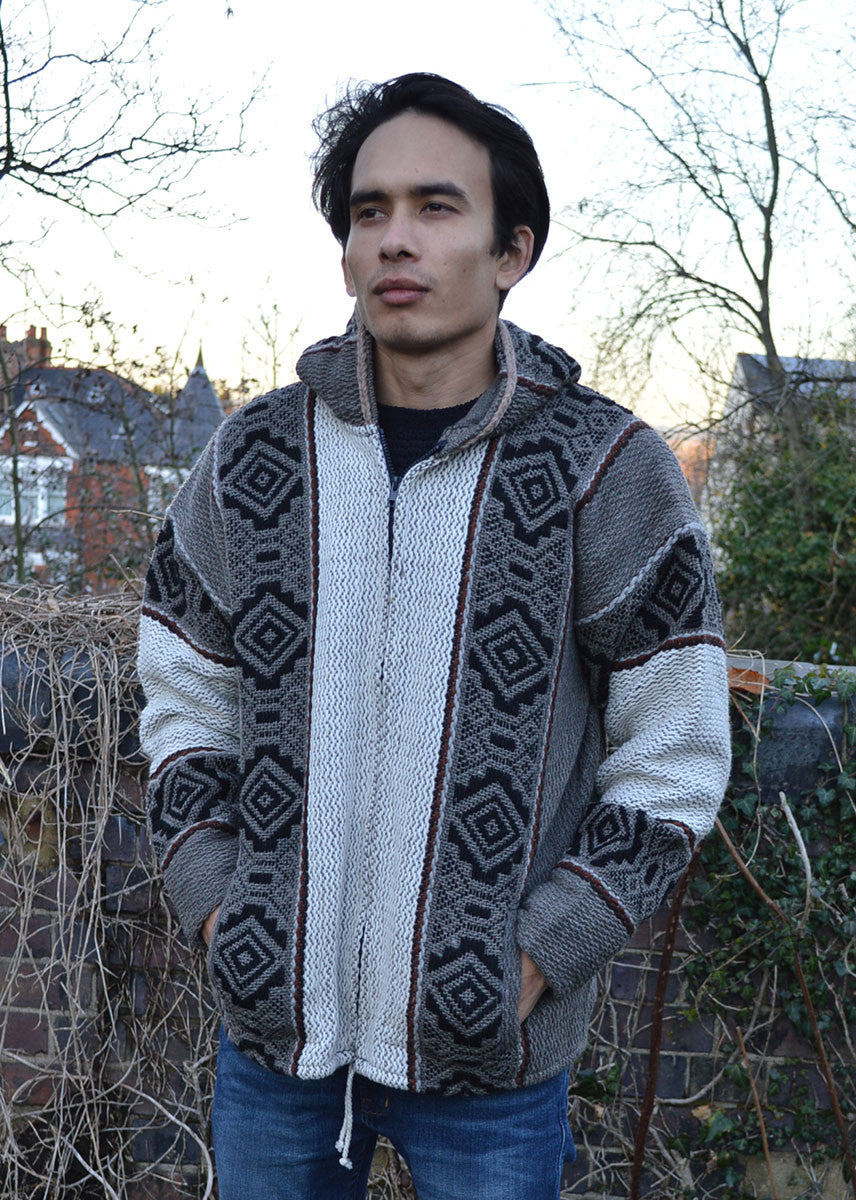 South American Hand made Inca wool jacket Grey
