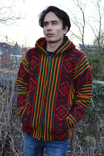 South American Hand made Inca wool jacket Rasta