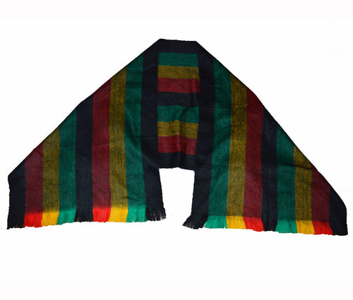 Hand made  Rasta stripe Alpaca blend Brushed shawl Black