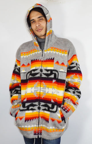 American Indian pattern hand made Hooded Jacket Grey