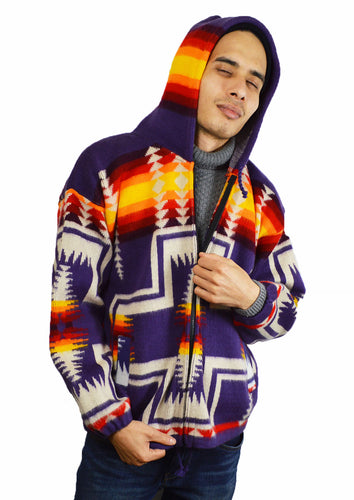 American Indian pattern hand made Hooded Jacket Purple
