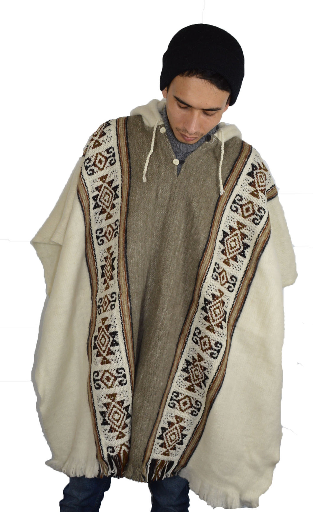 South American hand made wool hand made Hooded Inca poncho White