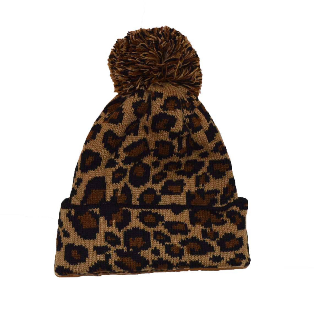 Cool Knitted Leopard bobble hat