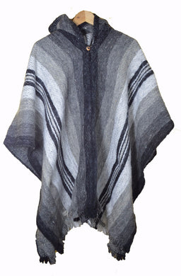 South American hand made wool poncho Grey Stripe