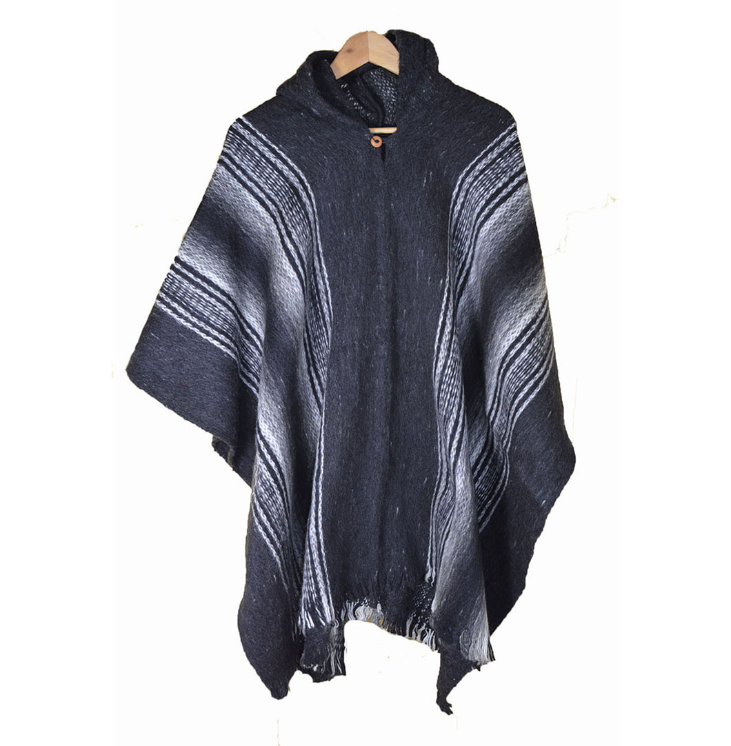 South American hand made Hooded wool poncho Stripe Dark Grey