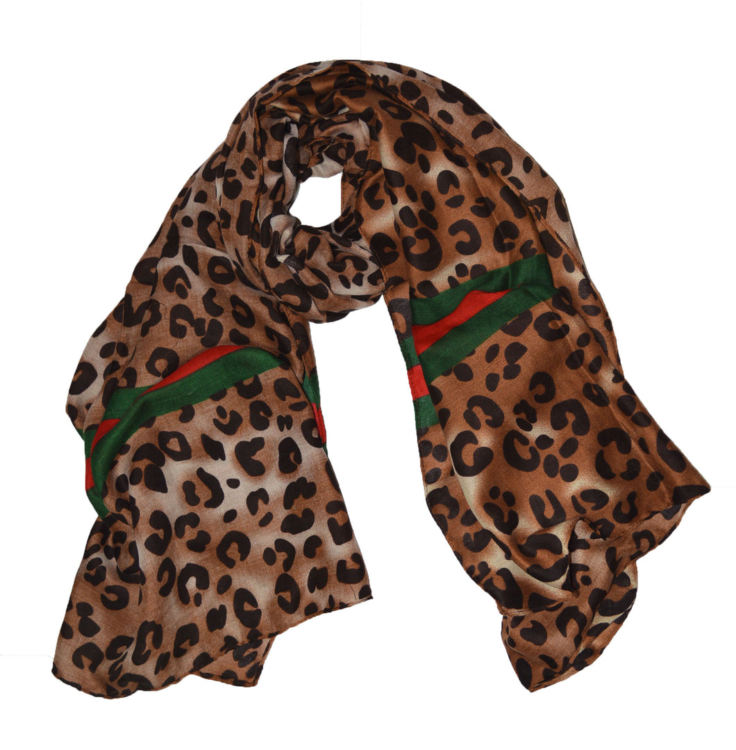 Nice high quality   large super soft leopard print Stripe scarf