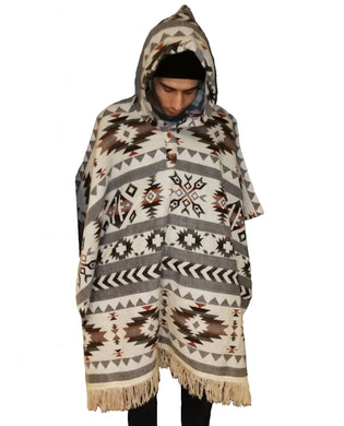 American Indian pattern hand made poncho Beige