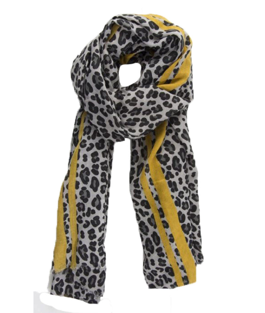 Leopard Color Border Print Scarf - Ladies Animal Print Scarves -Women's Soft Leopard ShawL