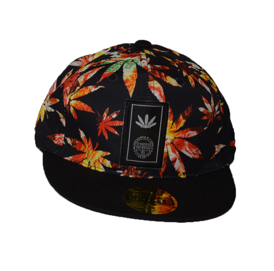 leaf print snap back cap