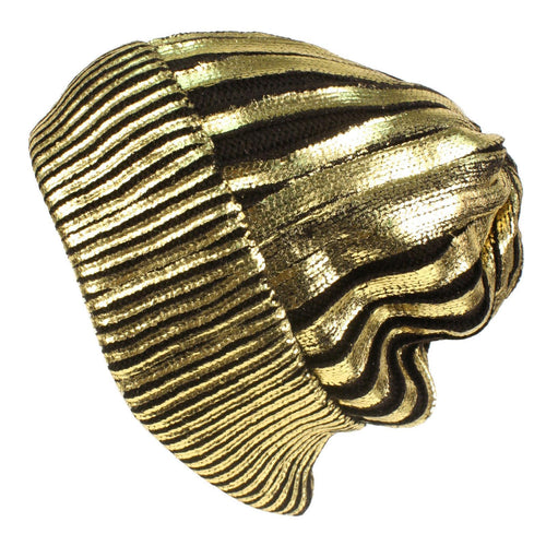 Shiny Gold Silver foil beanie hat