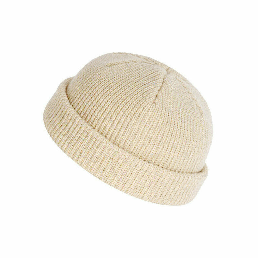 Ribbed short skully beanie skull hat cap - ladies mens skull beanie