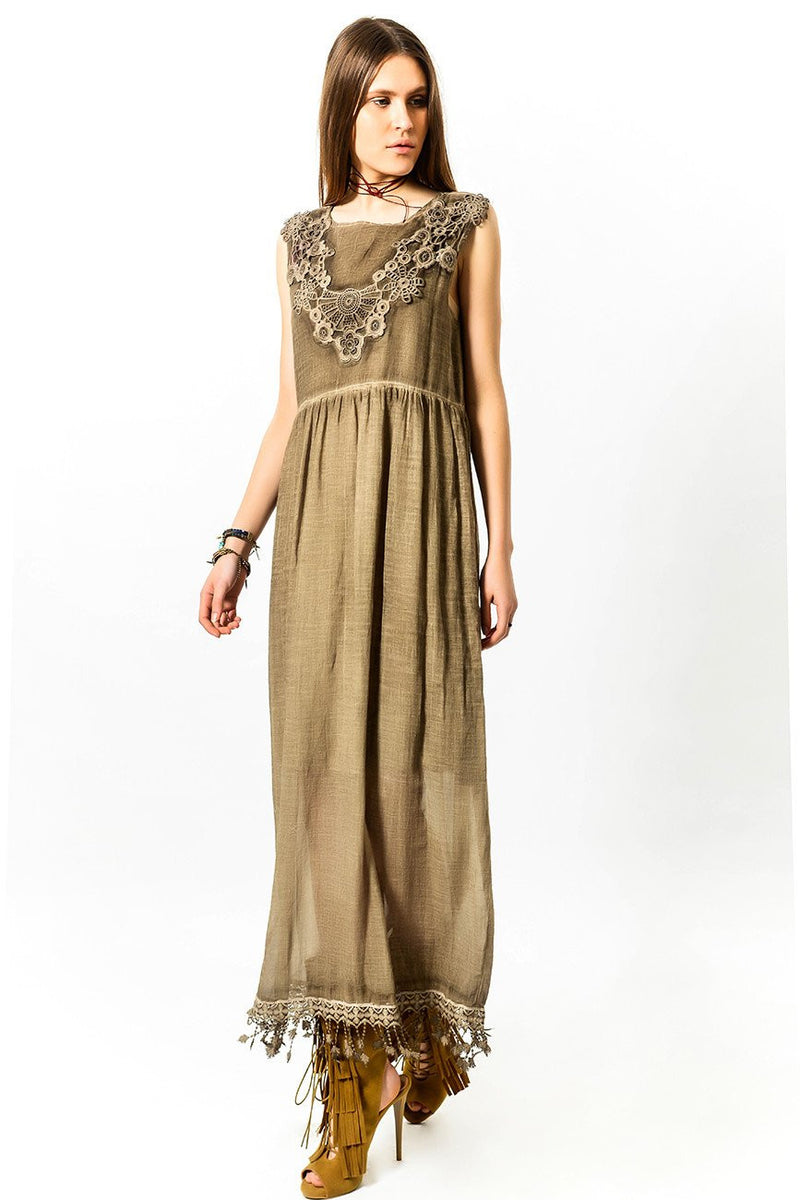 Bohemian Dress with Lace Fringes