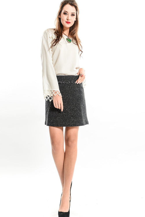 Mini Tweed Skirt with Fringe Details