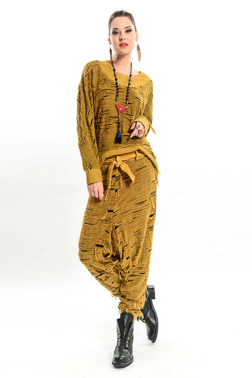 Specialty Woven Tear Jacquard Harem Pants
