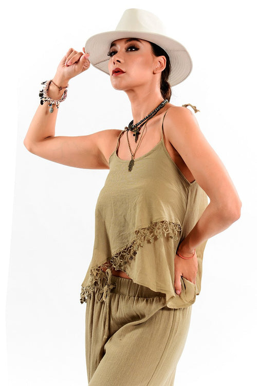 Diagonal Layered Strap Blouse with Hand Embroidery Fringe