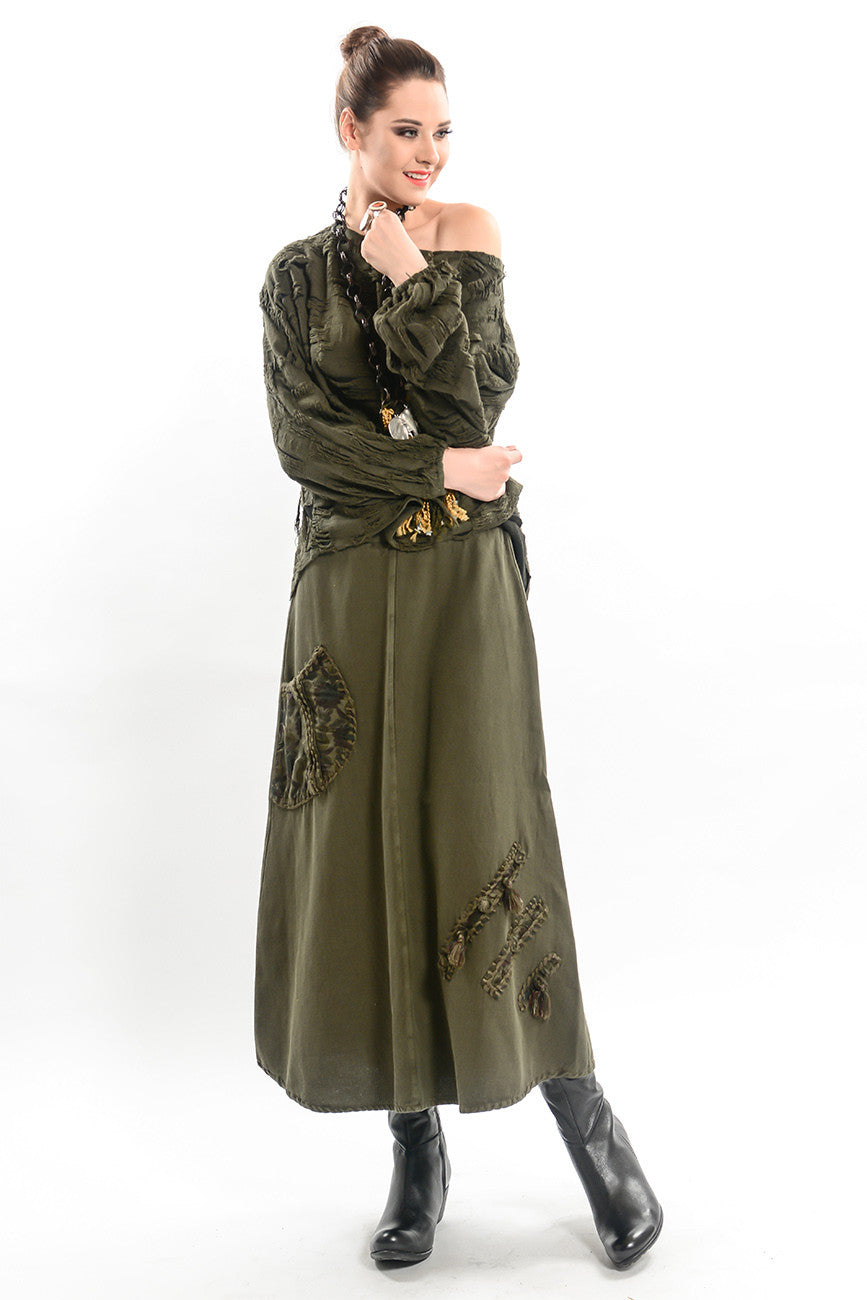 572a1878b Maxi A-Line Skirt with Hand Embroidery Patch Details - Khaki – PERIBOZO
