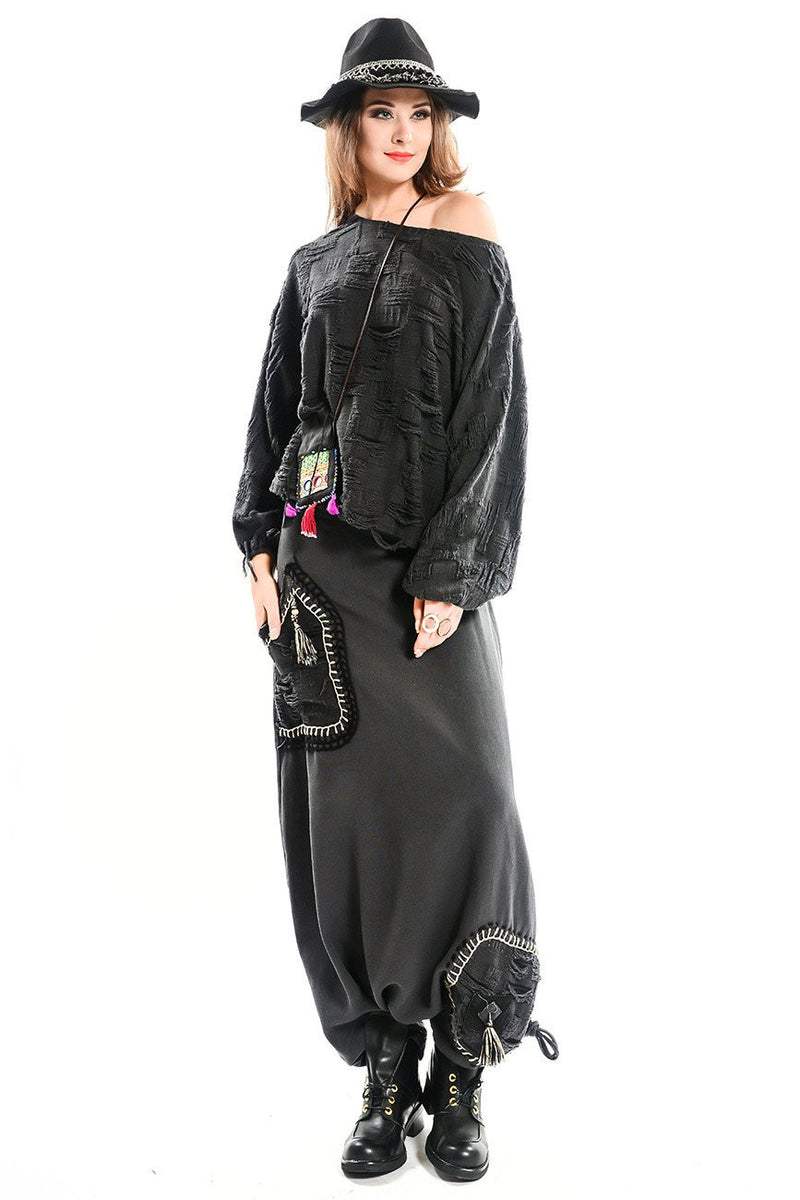 Hand Embroidery Patch Harem Pants