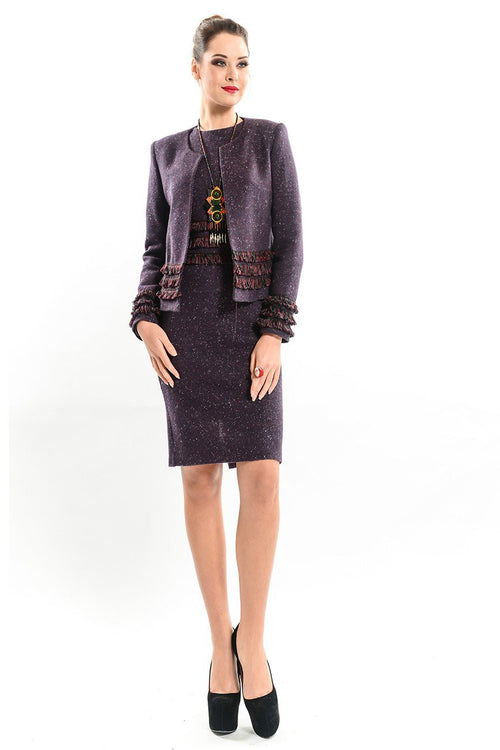 Tweed Jacket Embellished with Fringes
