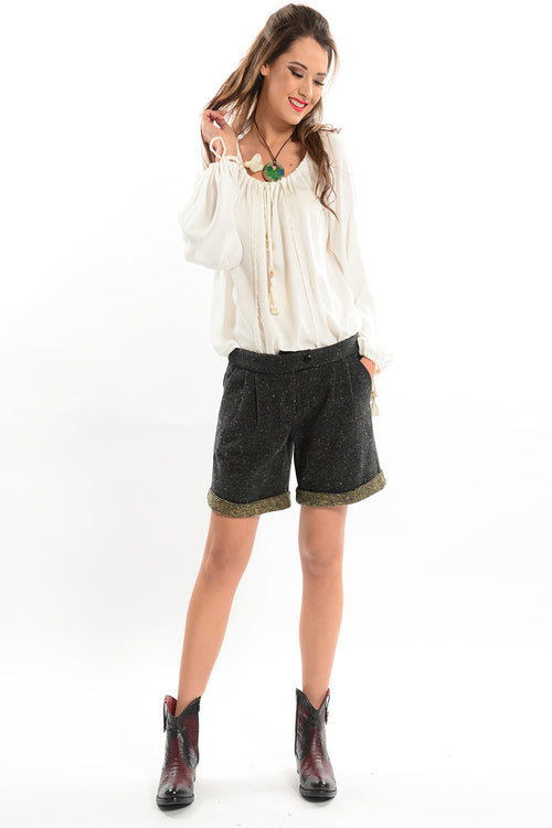 Tweed Shorts with Cuff