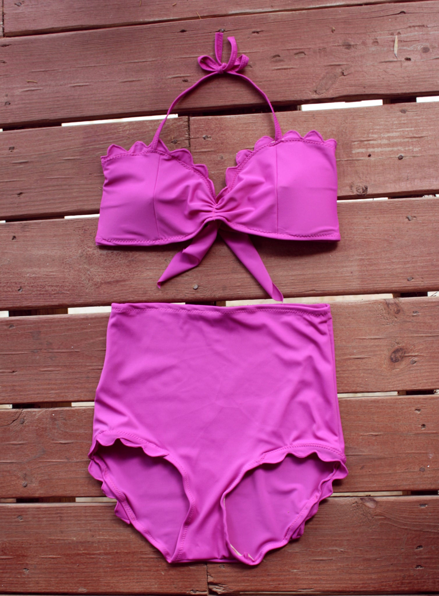 Tropical Fuchsia Scalloped Bikini
