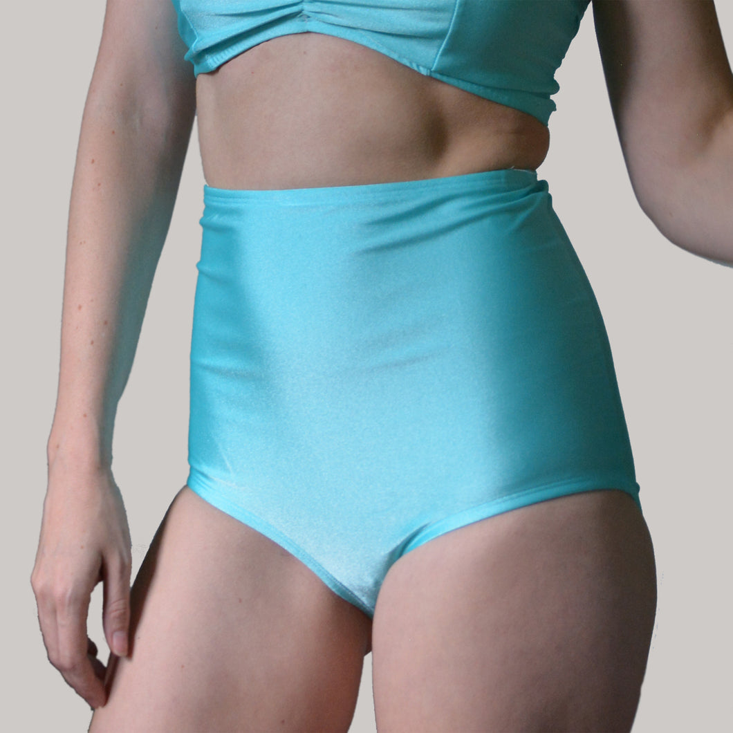 AQUA HIGH WAIST BIKINI BOTTOMS IN AQUA