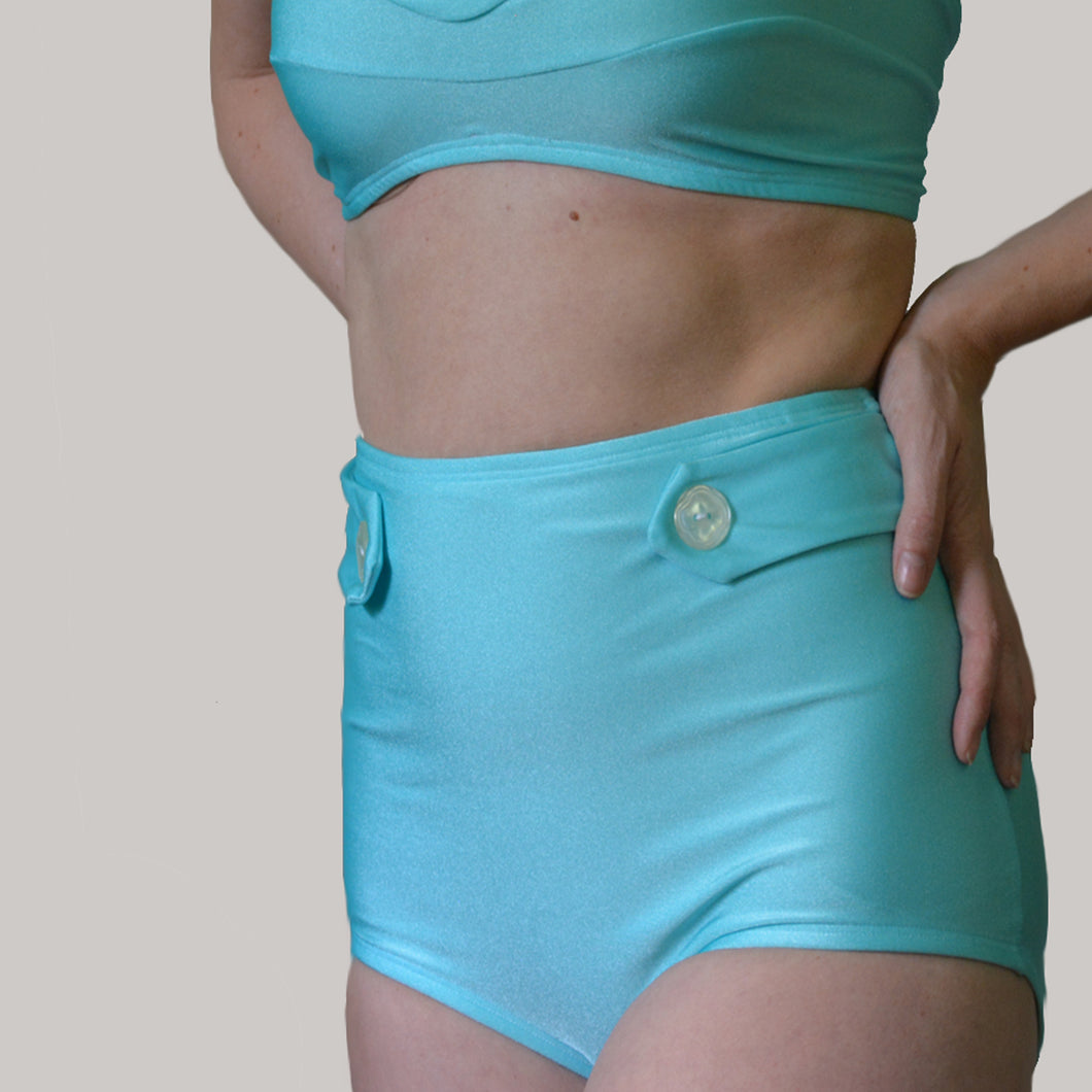 TIFFANY HIGH WAIST BIKINI BOTTOMS IN AQUA