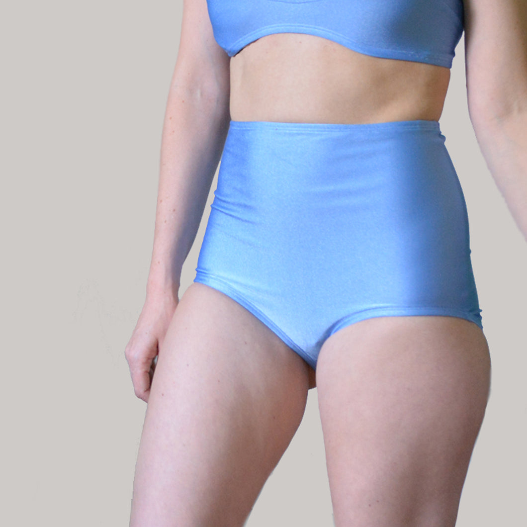 Basic high waist bikini bottom in periwinkle
