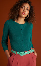King Louie - Cardi Roundneck Lapis Eden Green