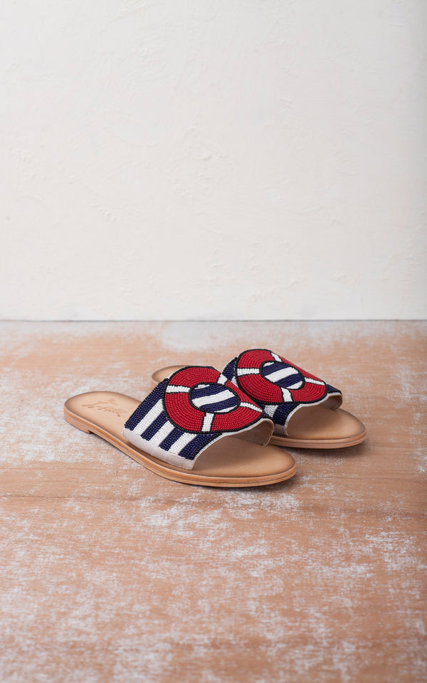 Miss L Fire - All Aboard Blauw Rode Retro Slippers
