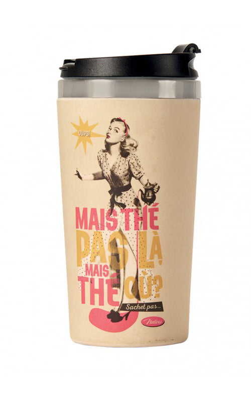 Natives - Bamboo Thermos Mug Thé Pas Là? I Retro Herbruikbare Drank Beker voor Koffie en Thee